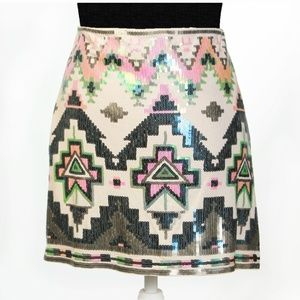 Express Sequined Mini Skirt Party Multi-Color M/L